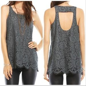 Chaser Open Keyhole Vintage Lace Tank Top XS
